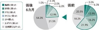 鼻のクリニック東京来院時と鼻の手術治療後6カ月目の状態を326人に調査(術式は複数)。日中の眠気について「全然困らなかった」から「極度に困った」まで7段階で回答を得た。困っている人(「少々困った」以上)は術前61.3%から術後は24.2%へと減少した。<br>(データ:鼻のクリニック東京)