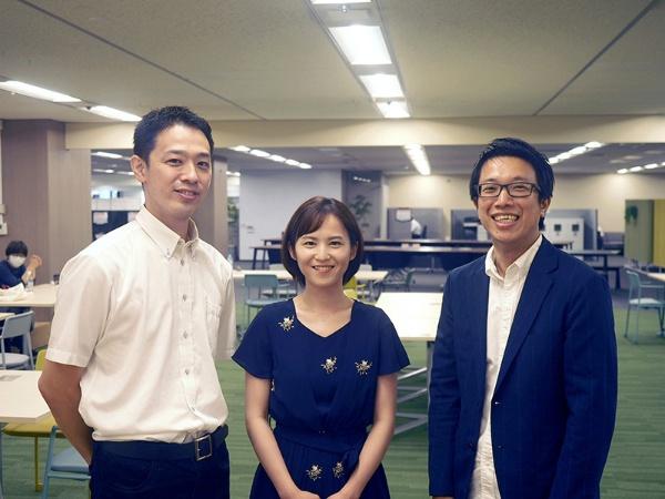 左から、安藤翔一さん(メディアラボ)、勘澤綾さん(通販事業部)、篠健一郎さん(デジタル機動報道部)
