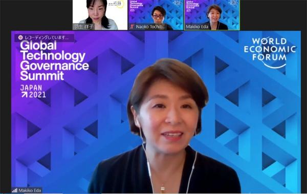 ジェンダーギャップ指数2021の総評をする、WEF日本代表の江田麻季子さん。「意図的にギャップを埋めないと、いつまでたっても男女格差は組織の中で生じます」