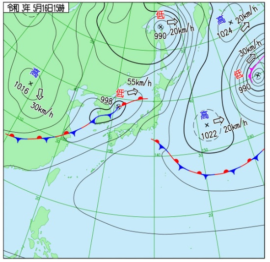近畿・東海が梅雨入りした5月16日の天気図。梅雨前線が日本海にあり、早い梅雨入り早々「梅雨後半」のような気圧配置(提供/気象庁)
