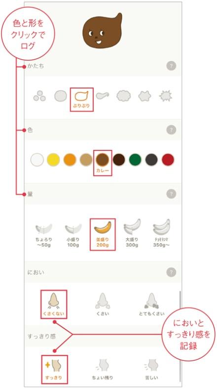 アイコンの色や形状を選ぶだけで、1分もかからず手軽に排便を記録できる。においやすっきり感も記録