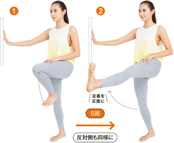 左ひざを股関節の高さで持ち上げ、ひざの高さをキープしながら前側に蹴る。足裏が正面に向くように意識する