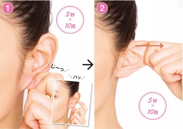 (1)耳たぶじーパッ押し、(2)耳サイド引っ張り