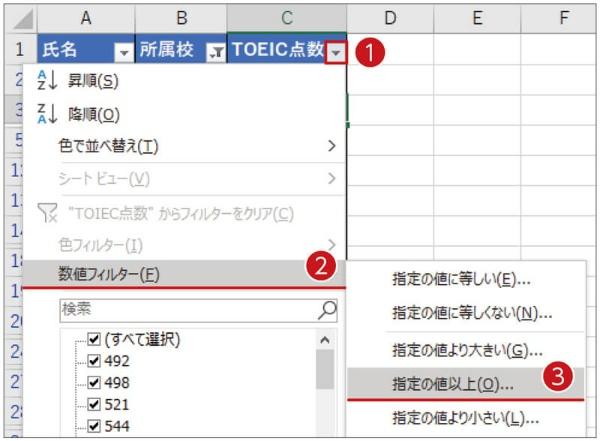 「TOEIC点数」欄のフィルターボタンを押して「数値フィルター」を選ぶ。「指定の値以上」を選ぶ