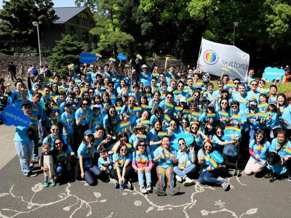 同じくパレード当日に撮影した、セールスフォース・ドットコム社員の集合写真
