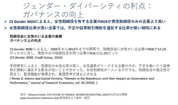 「2005年から2014年までの期間で、取締役会に女性がいる企業のROE(自己資本利益率)が14.1%だったのに対し、男性のみの取締役会を持つ企業のROEは11.2%だった」(黄さん)