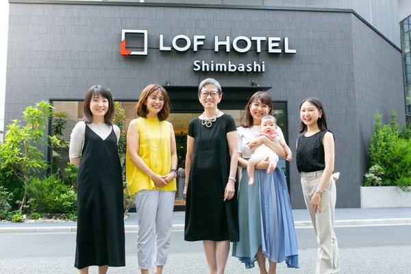 左から、入井智子さん、木下直美さん、薄井シンシアさん、高沢香織さん、髙田理世さん。座談会は、7月1日に開業予定の「LOF HOTEL Shimbashi」で開催